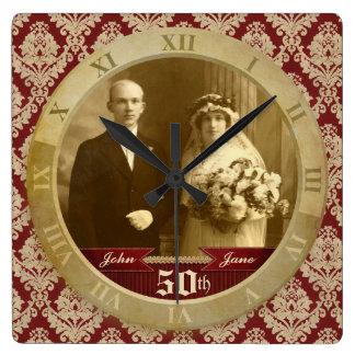 Customizable Photo Clock Red Damask Roman Numeral