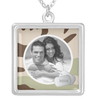 Customizable Photo & Dog Tags Silver Plated Necklace