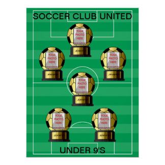 Customizable photo golden soccer team posters