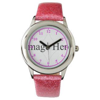 Customizable Photo Kids Watch / Pink Glitter Strap