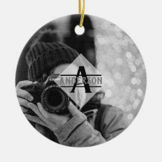 Customizable PHOTO Monogram Gifts Modern Ceramic Ornament