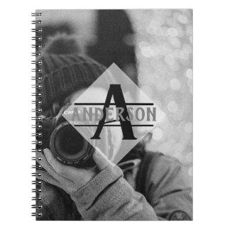 Customizable PHOTO Monogram Gifts Modern Notebooks