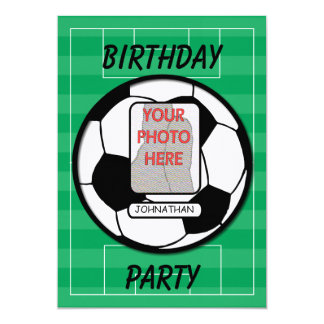 "Customizable photo soccer ball party 5"" x 7"" invitation card"
