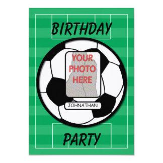 "Customizable photo soccer ball party 5"" x 7"" invitation card"