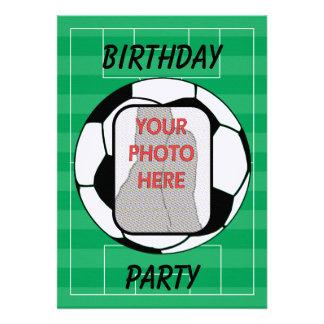 Customizable photo soccer ball party invitations