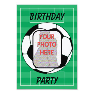 Customizable photo soccer ball party invitations