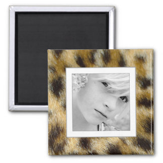 Customizable Photo Upload Leopard Fur Print Magnet