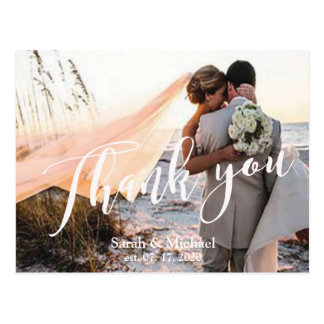Customizable Photo Wedding Thank You Postcard