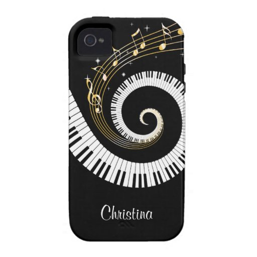 Customizable Piano Keys and Gold Music Notes iphon Vibe iPhone 4 Cover