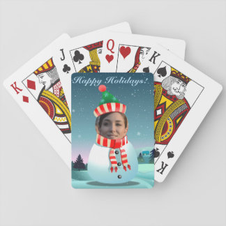 Customizable Picture Snowman Playing Cards