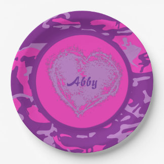 Customizable Pink and Purple Camo with Heart 9 Inch Paper Plate
