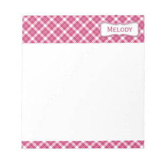 Customizable Pink and White Plaid Notepad