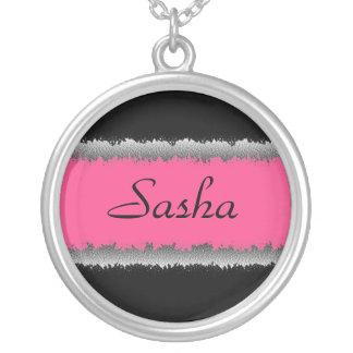 Customizable pink black necklace