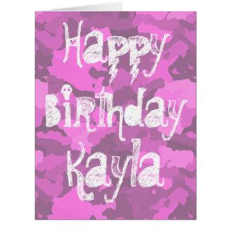 Customizable Pink Camo Birthday Card