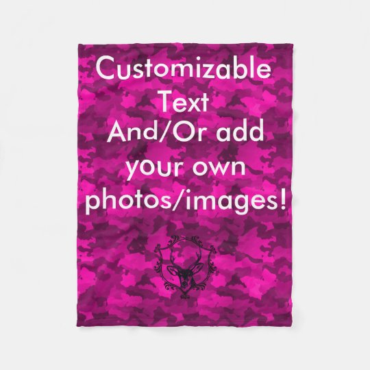 Customizable Pink Camo Fleece Blanket