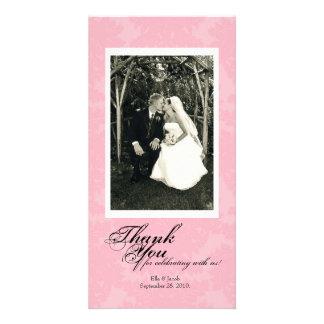 Customizable Pink Damask Photo Card