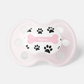 Customizable Pink Dog Bone with Paw Prints Pacifier