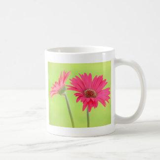 Customizable Pink Gerber Daisies on Green Coffee Mug