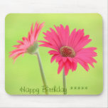 Customizable Pink Gerber Daisies on Green Mouse Pad