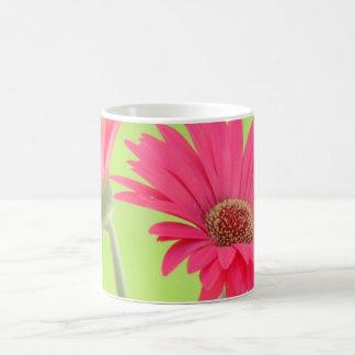 Customizable Pink Gerber Daisies on Green Mug