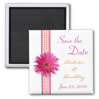 Customizable Pink Gerbera Daisy Monogram Magnet