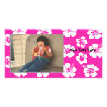 Customizable Pink Hibiscus Photocard Customized Photo Card