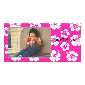 Customizable Pink Hibiscus Photocard Photo Greeting Card