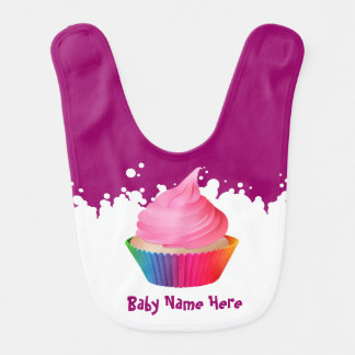 Customizable Pink Icing Rainbow Vanilla Cupake Bib