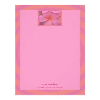 Customizable Pink Plumeria Tropical Letterhead