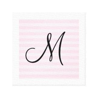 Customizable pink striped monogram canvas print