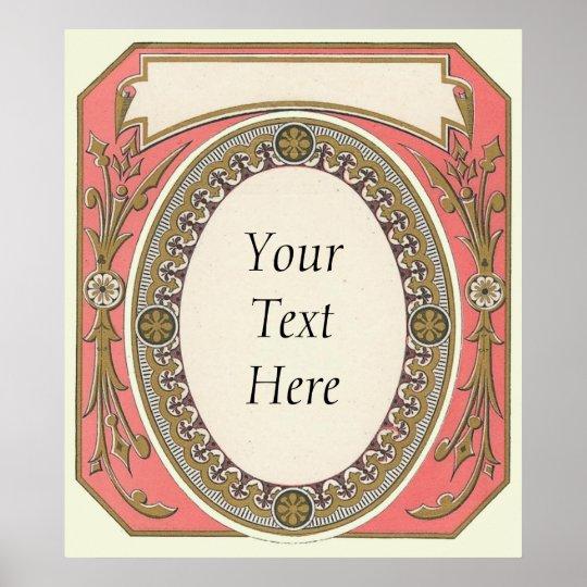 Customizable Pink Vintage Border Poster