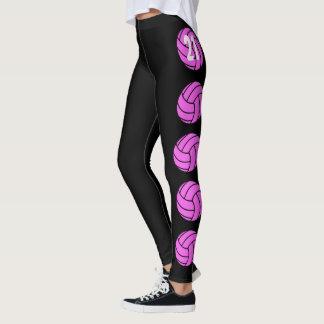 Customizable Pink Volleyball Leggings