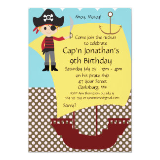 Customizable Pirate Ship Birthday Party Card