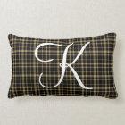 Customizable Plaid Initial Monogram Lumbar Pillow