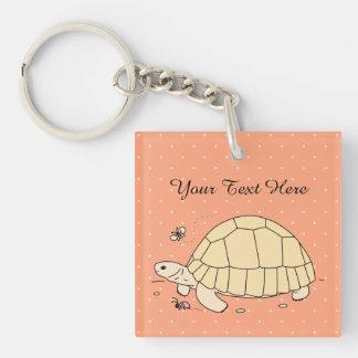 Customizable Ploughshare Tortoise Keychain