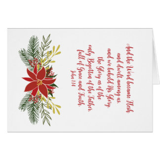 CUSTOMIZABLE Poinsettia Red Green and Gold Garland Card