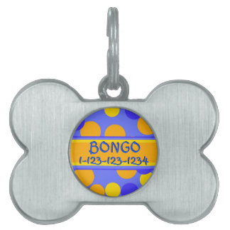 Customizable Polkadot and Stripes in Blue Yellow Pet Name Tag