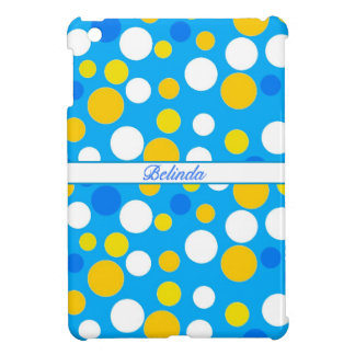 Customizable  Polkadot Pattern in Blue and Yellow. Case For The iPad Mini