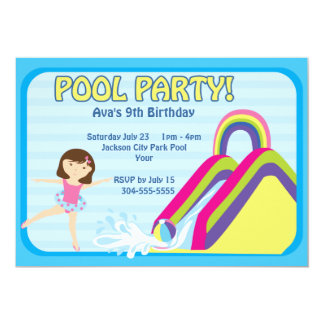 Customizable Pool Party Birthday Custom Announcements