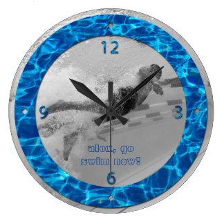 Customizable Pool Water Photo Frame Deep Blue Swim Large Clock