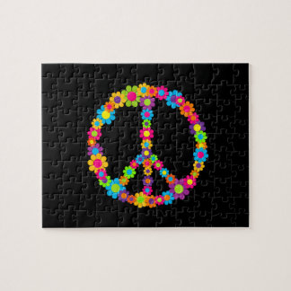 Customizable Pop Flower Power Peace Jigsaw Puzzle