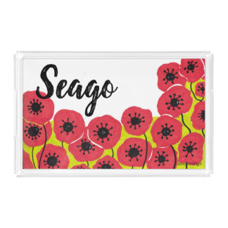 Customizable Poppies Serving Tray