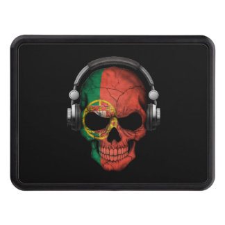 Customizable Portuguese Dj Skull with Headphones Trailer Hitch Covers