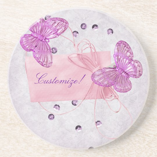 Customizable Pretty Pink Butterfly Coaster