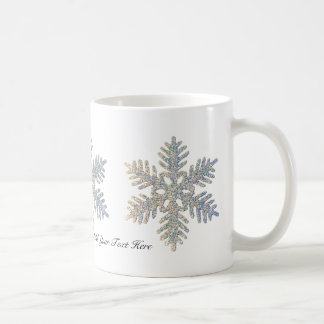 Customizable Printed Glittery Snowflake Coffee Mug