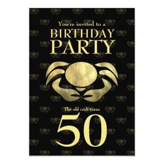 Customizable Printed Rustic Gold Crab Birthday Card