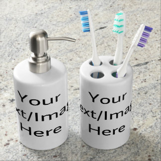 Customizable products soap dispenser and toothbrush holder