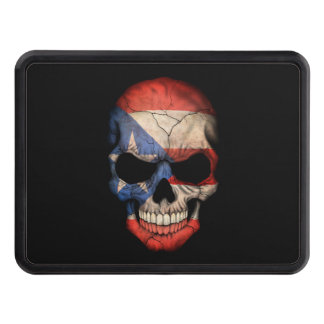 Customizable Puerto Rican Flag Skull Trailer Hitch Cover