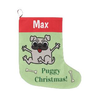Customizable Pug Large Christmas Stocking