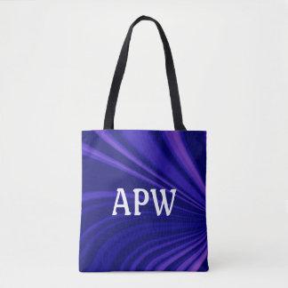 Customizable Purple and Black Monogram Tote Bag